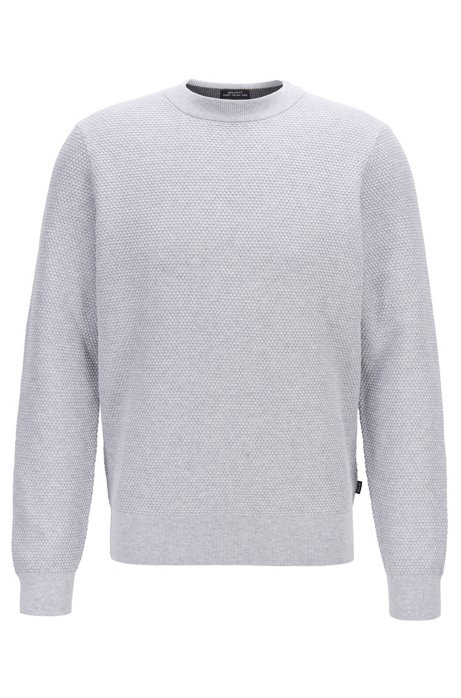 Italian-made sweater in structured Pima cotton, Grey
