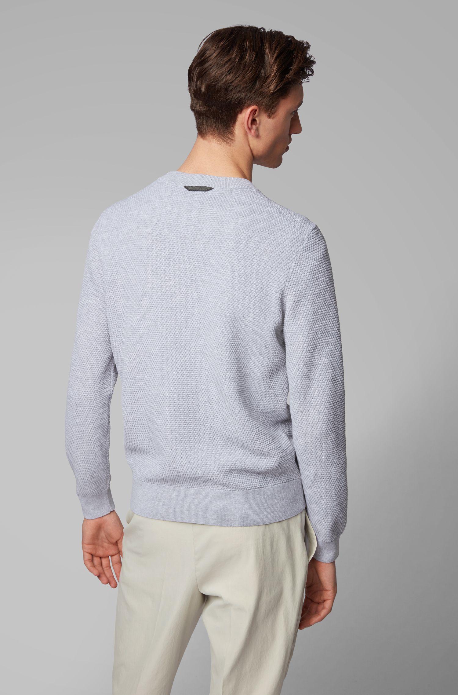 In Italien gefertigter Pullover aus strukturierter Pima-Baumwolle, Grau