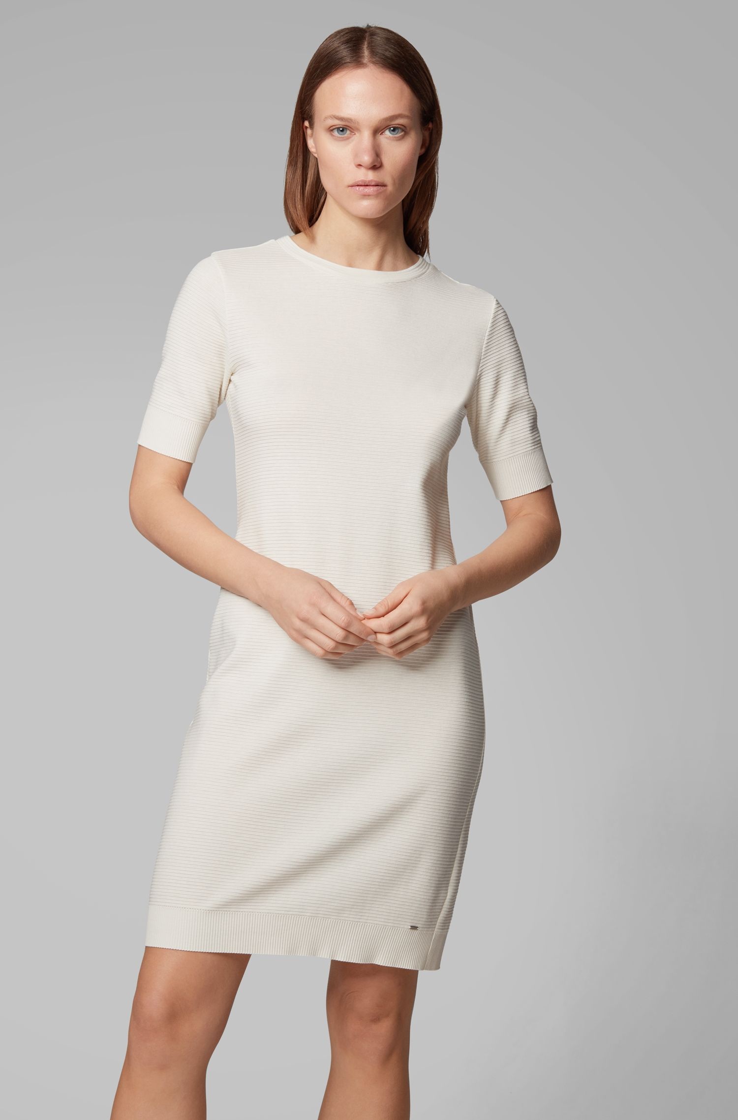 Short-sleeve bodycon dress in ottoman jersey, Natural