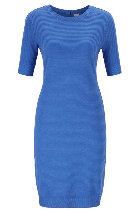Short-sleeve bodycon dress in ottoman jersey, Blue
