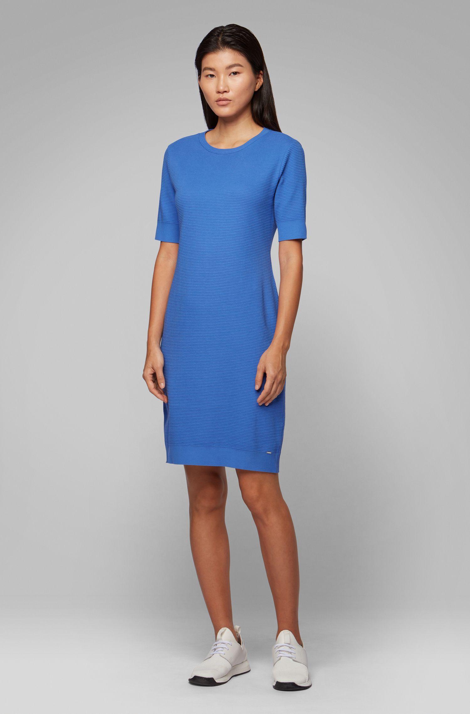 Vestito aderente a maniche corte in jersey ottoman, Blu