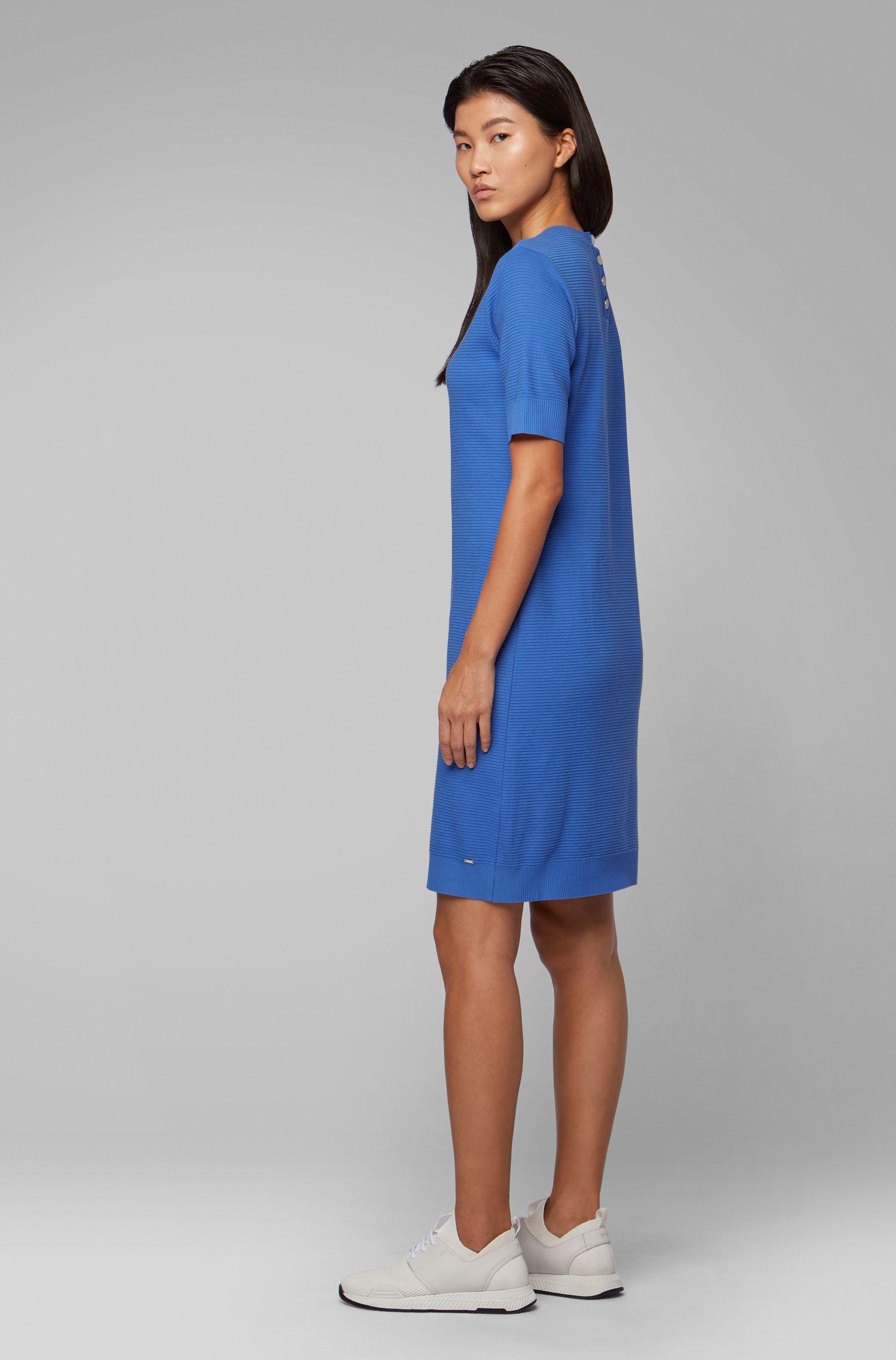 Robe près du corps à manches courtes en jersey ottoman, Bleu
