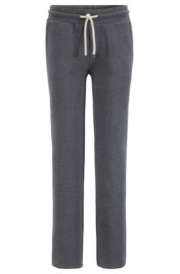 Regular-fit jersey trousers in cotton-blend French terry, Anthracite
