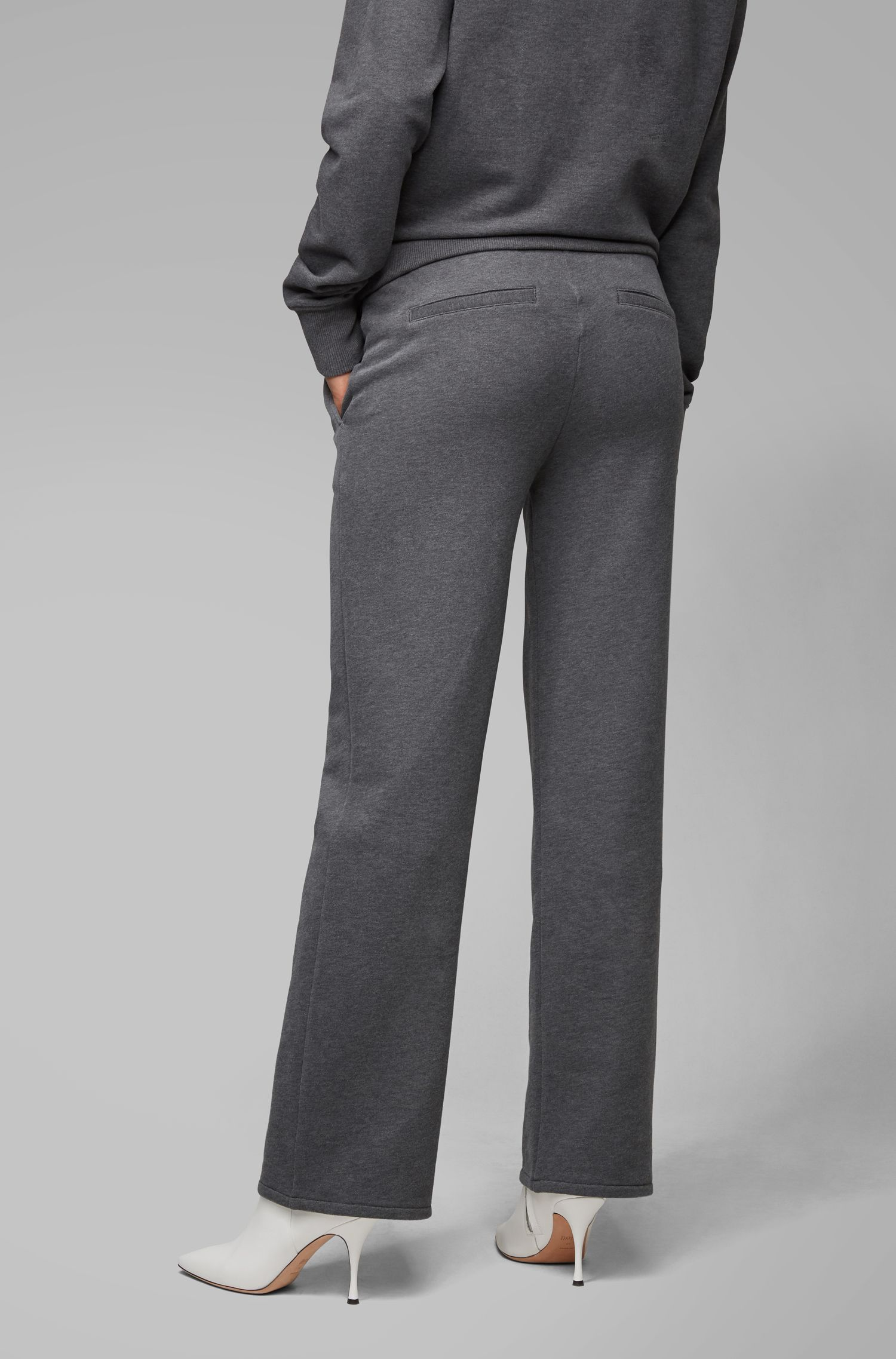 Regular-Fit Jersey-Hose aus French Terry, Anthrazit