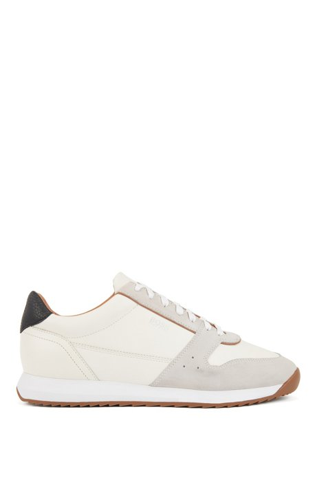 Running-inspired trainers in mixed leathers, Natural