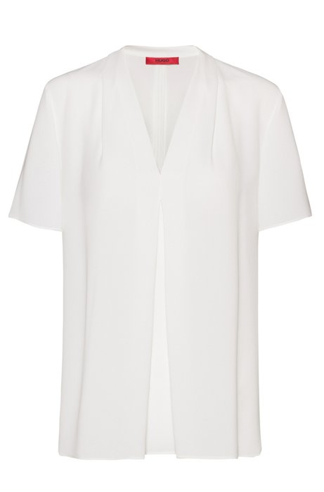V-neck top in crinkle crepe with pleated front, White