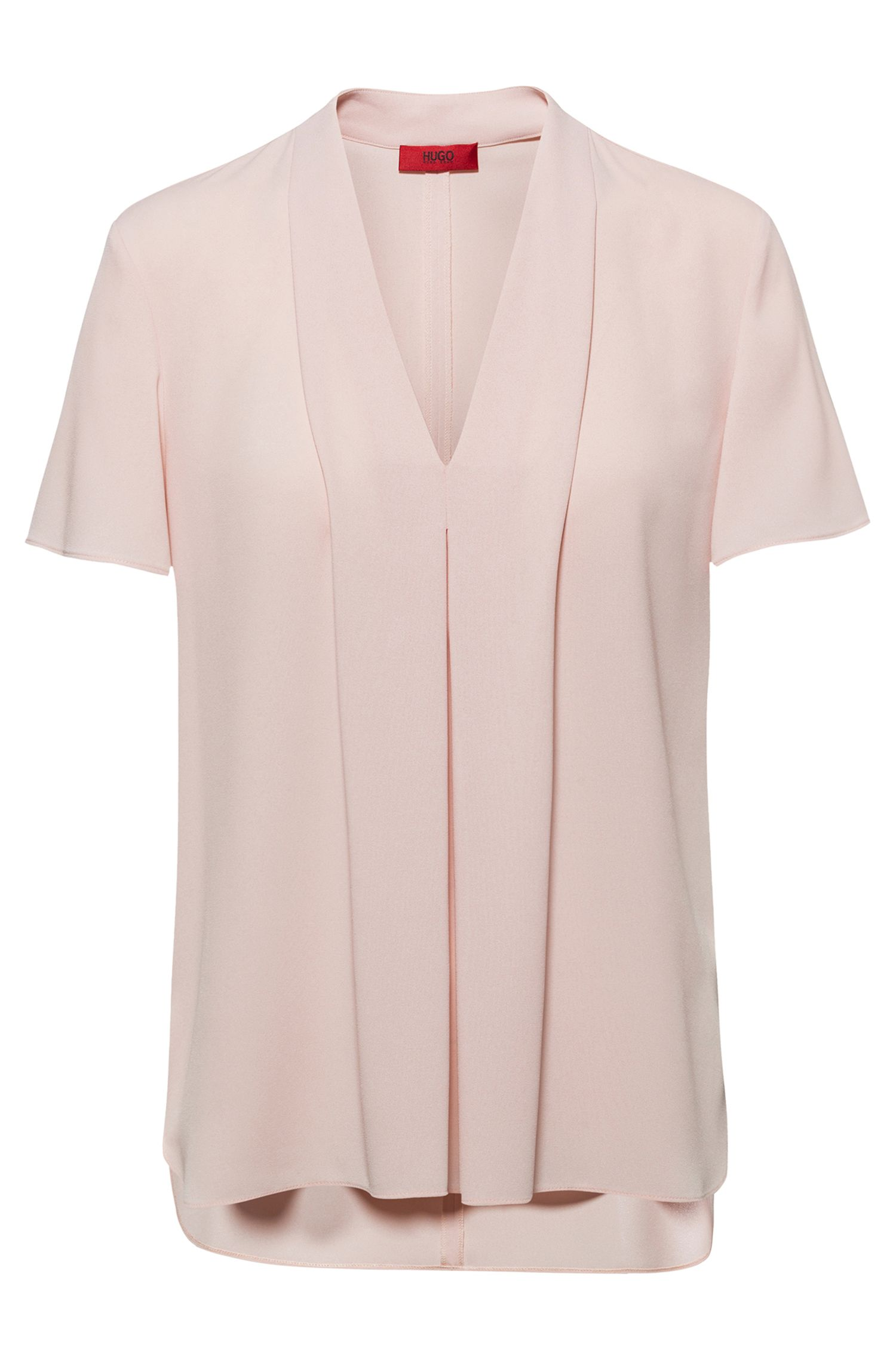 V-neck top in crinkle crepe with pleated front, light pink