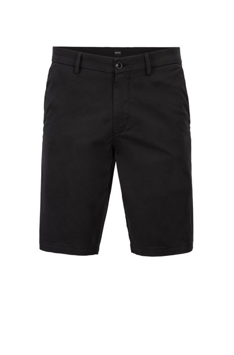 Short Slim Fit en coton stretch au toucher satiné, Noir