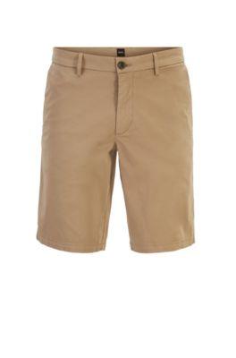 Slim-Fit Shorts aus Stretch-Baumwolle mit Satin-Finish, Hellbraun