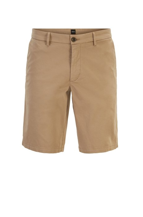 Slim-fit shorts in satin-touch stretch cotton, Light Brown