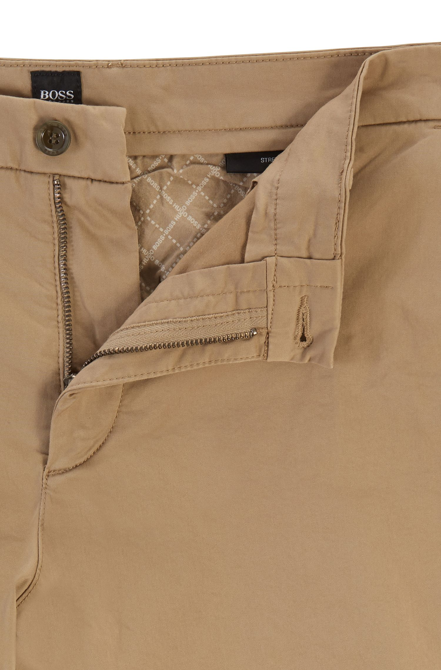 Slim-fit short van satijnzachte stretchkatoen, Lichtbruin
