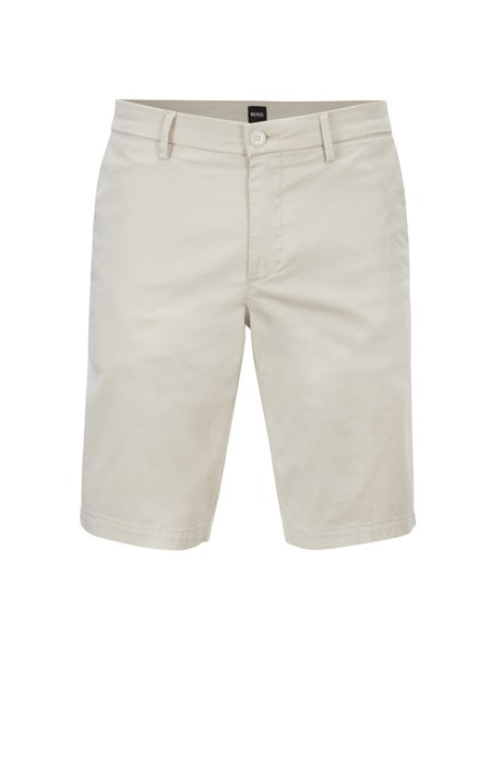 Slim-fit shorts in satin-touch stretch cotton, Light Beige
