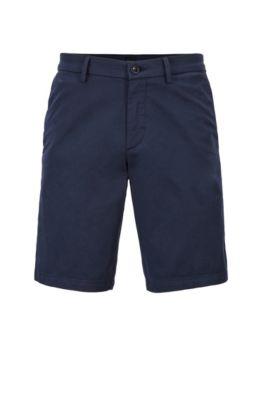 Shorts slim fit in cotone elasticizzato effetto satin, Blu scuro