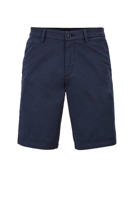 Slim-fit shorts in satin-touch stretch cotton, Dark Blue