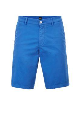 Slim-fit short van satijnzachte stretchkatoen, Blauw