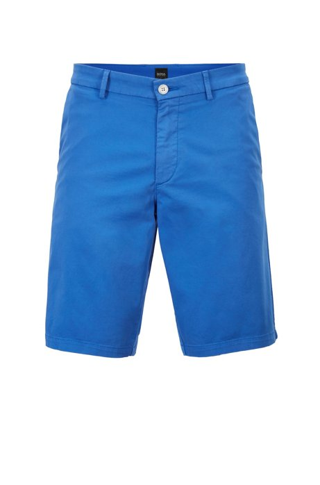 Slim-fit shorts in satin-touch stretch cotton, Blue