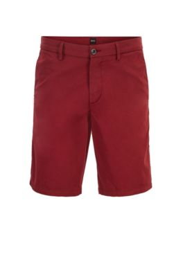 Slim-fit shorts in satin-touch stretch cotton, Red