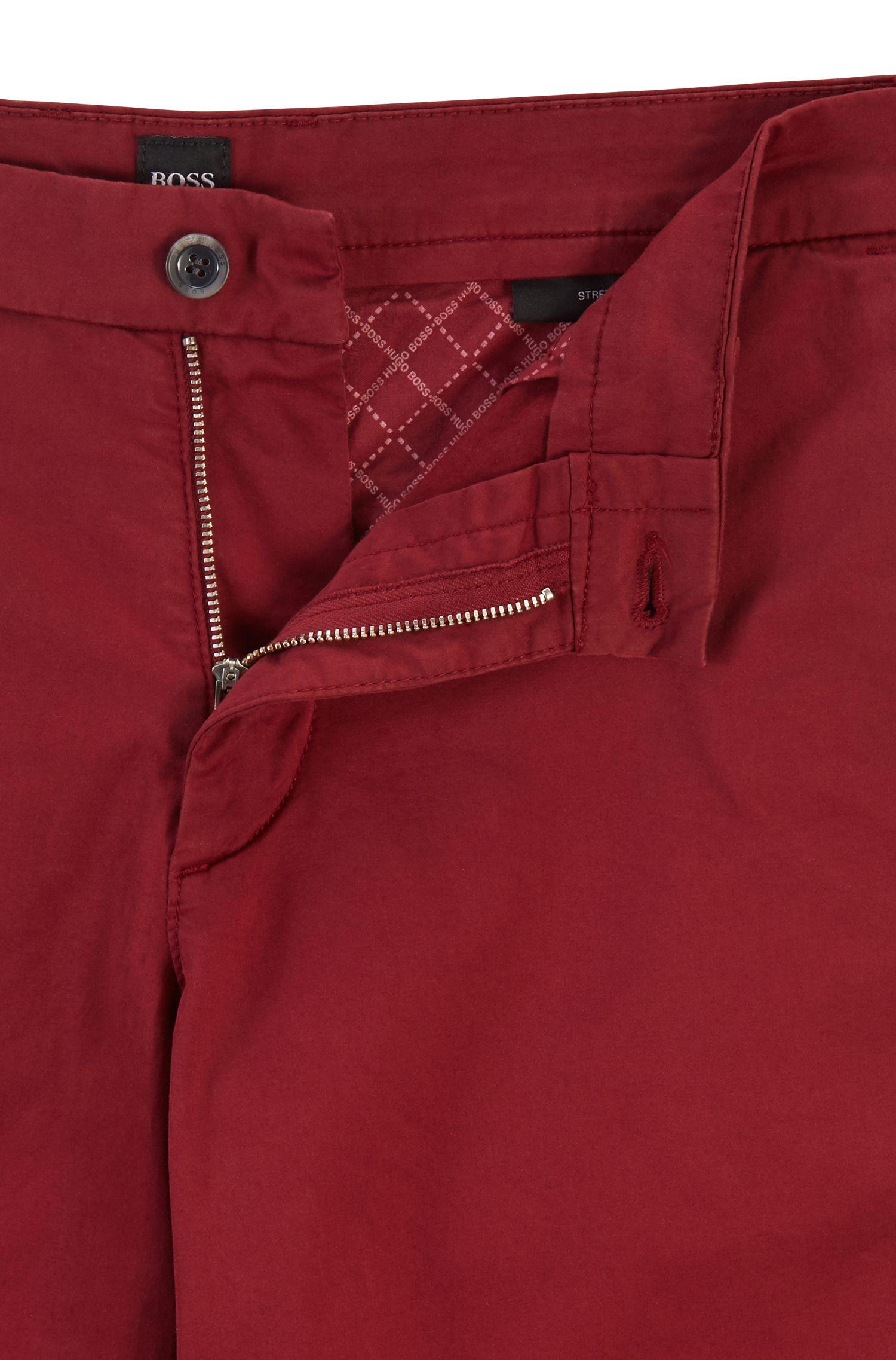 Shorts slim fit in cotone elasticizzato effetto satin, Rosso