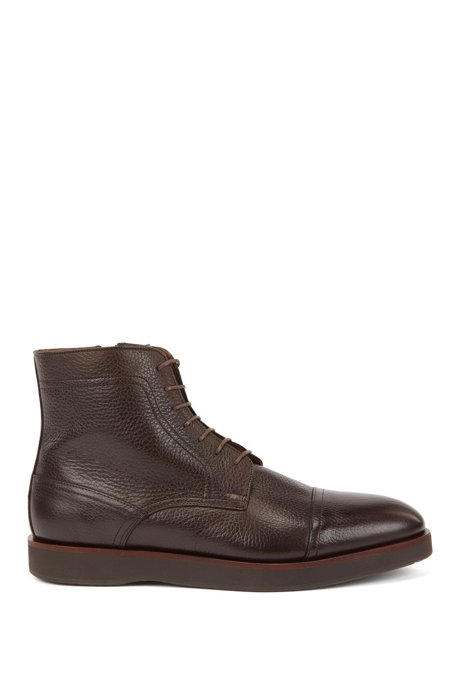 Portuguese-made lace-up boots in grained leather, Dark Brown
