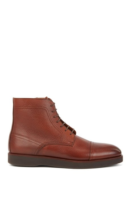 Portuguese-made lace-up boots in grained leather, Brown