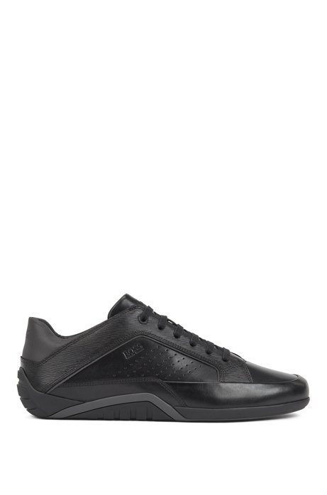 Low-profile trainers in nappa and embossed leather, Black