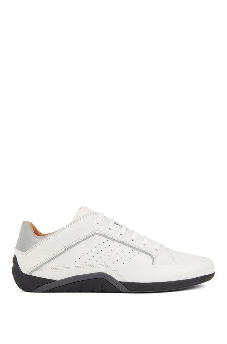 Sneakers aus Nappaleder und geprägtem Leder, Weiß