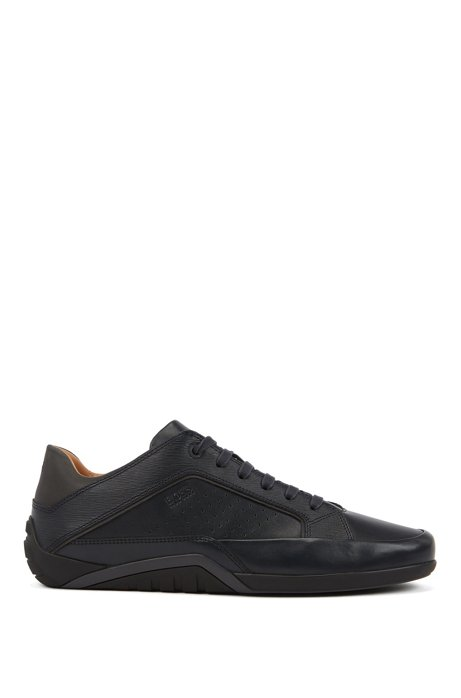 Low-profile trainers in nappa and embossed leather, Dark Blue