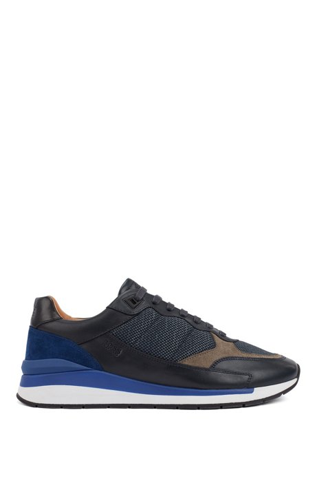 Running-inspired hybrid trainers with pop-colour accents, Blue