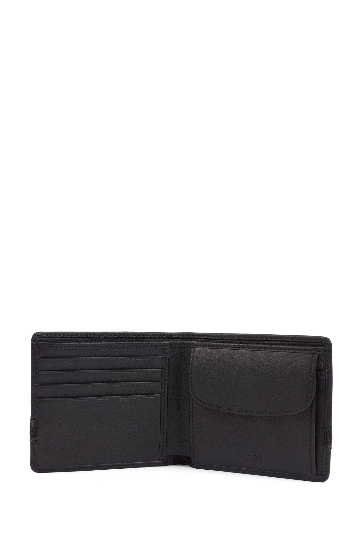Geschenk-Set mit Geldbörse und Schlüsselanhänger aus Nappaleder, Schwarz