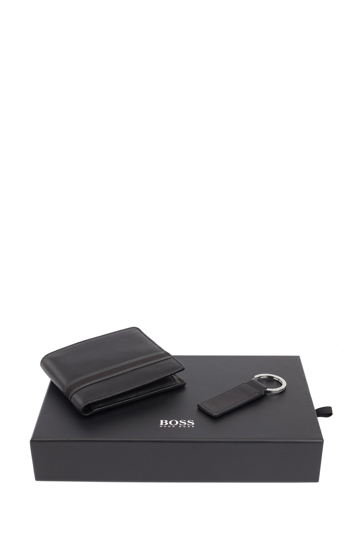 Cadeaubox met portemonnee en sleutelhanger van nappaleer, Zwart
