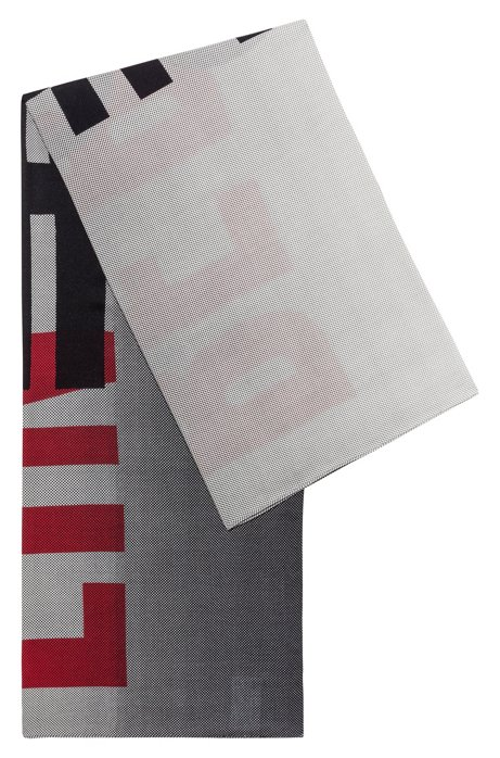 Square scarf in a cotton blend with collection print, Patterned
