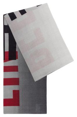 Sciarpa quadrata in misto cotone con stampa della collezione, A disegni