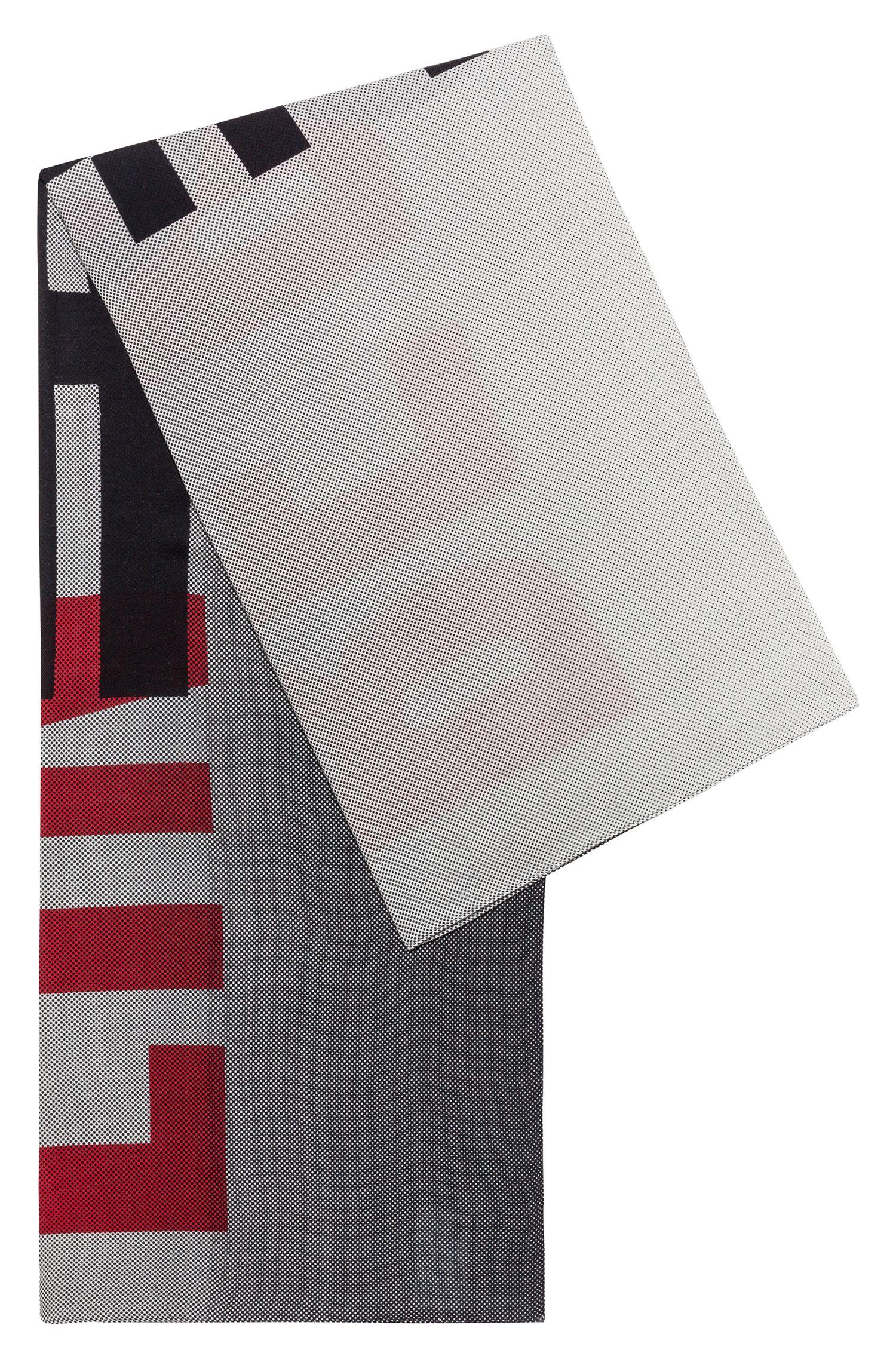 Foulard carré en coton mélangé avec imprimé de la collection, Fantaisie