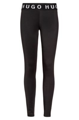 Slim-fit leggings in stretch fabric with logo details, Black