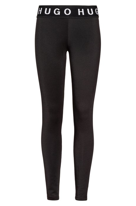 Legging Slim Fit en tissu stretch orné de logos, Noir