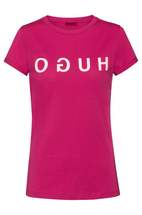 Reverse-logo T-shirt in jersey with turn-up sleeves, Pink