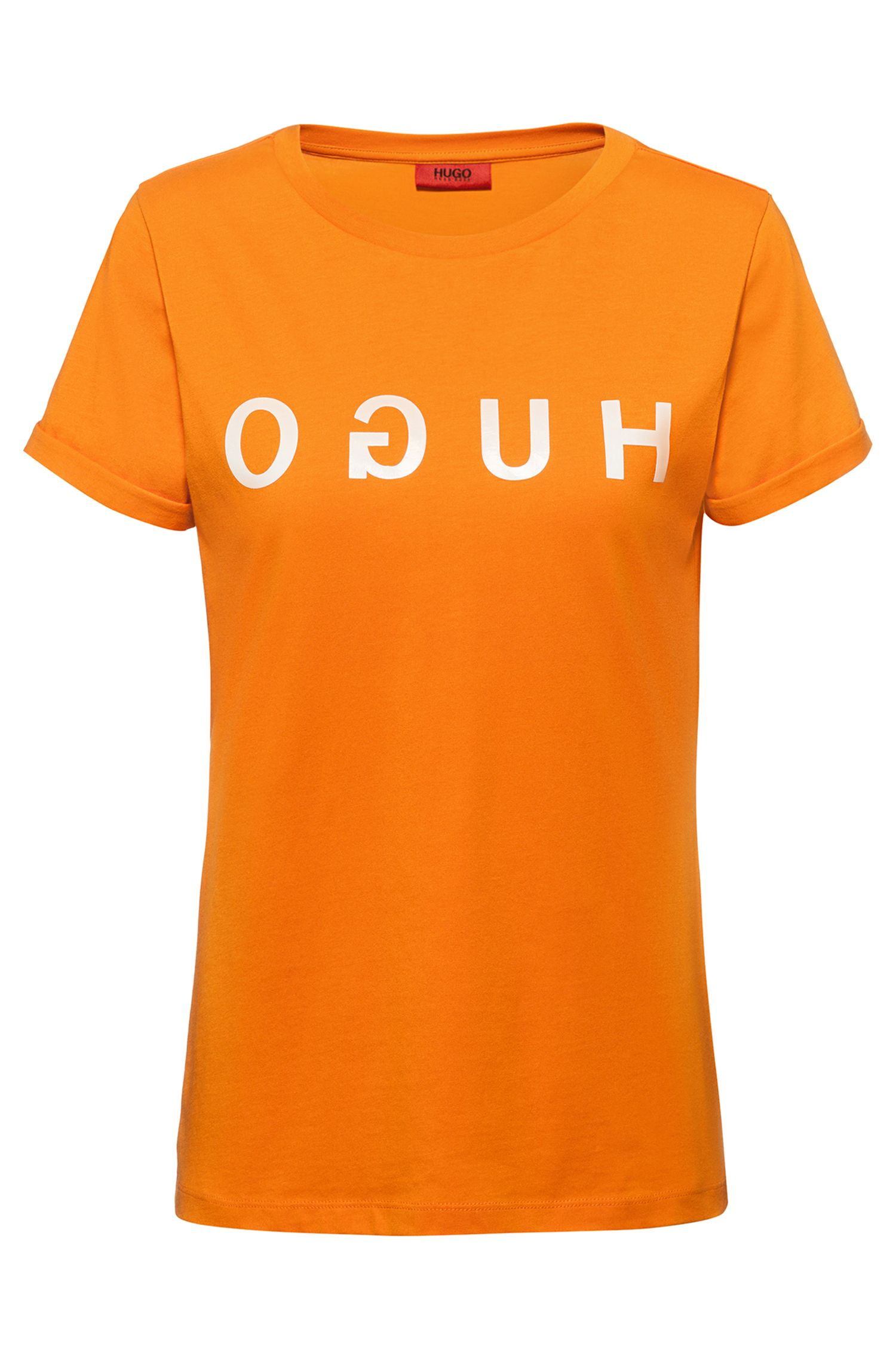 T-shirt in jersey con logo reversed e maniche con risvolto, Arancione