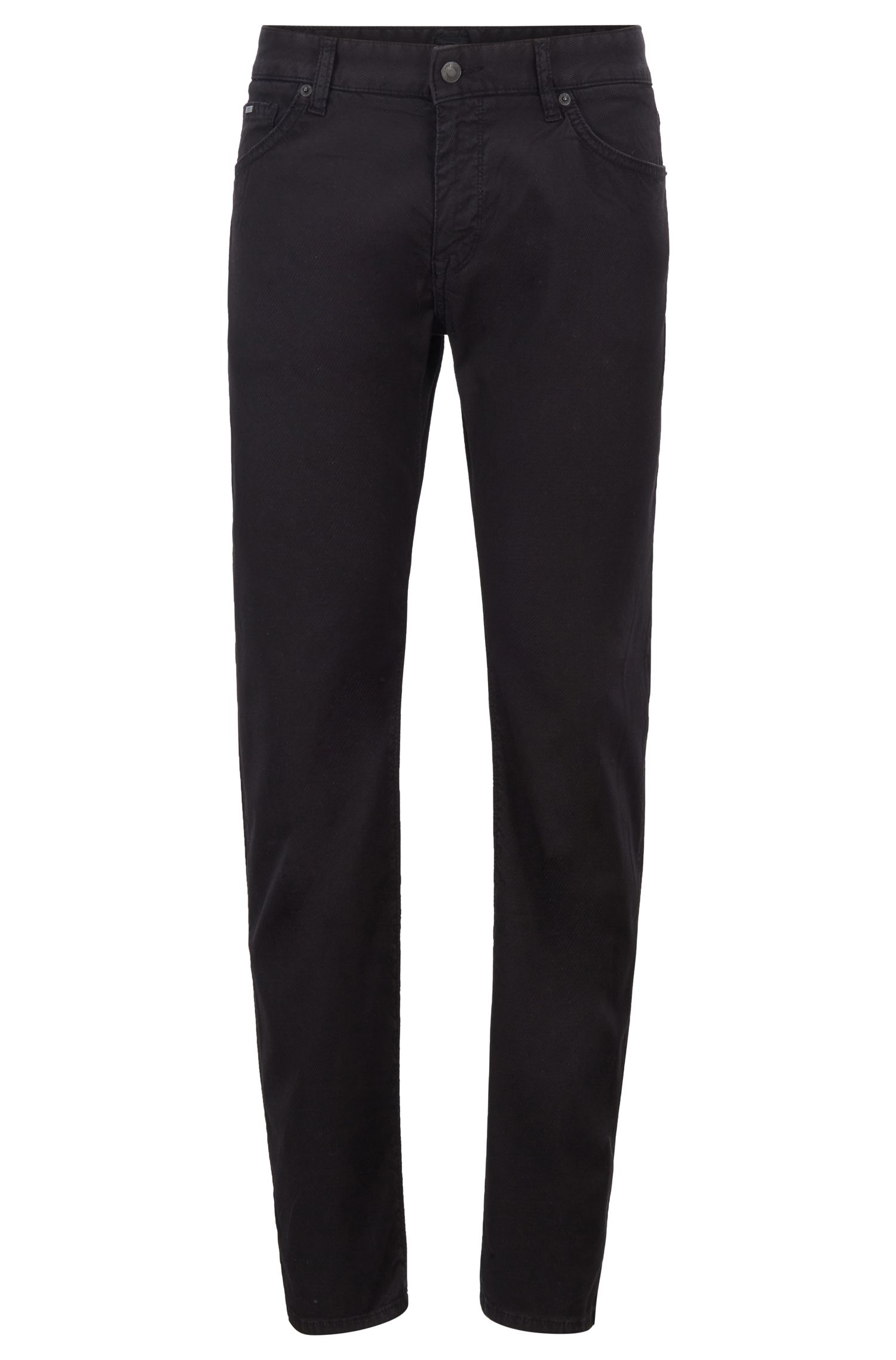 Regular-fit jeans van comfort-stretchdenim met 3D-structuur, Zwart