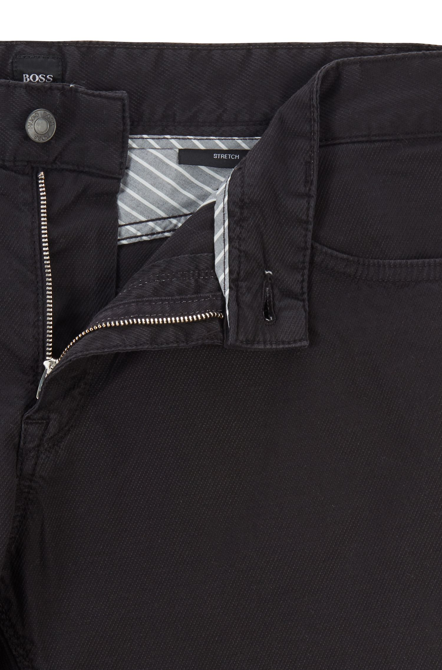 Jeans regular fit in comodo denim elasticizzato con lavorazione 3D, Nero
