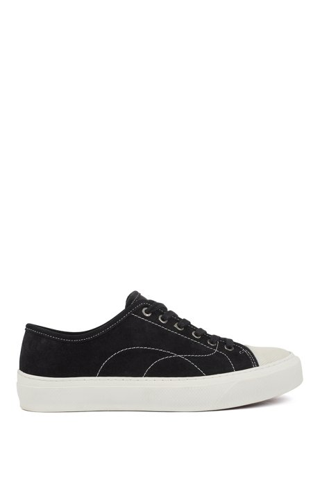 Suede trainers with contrast seasonal stitching, Black