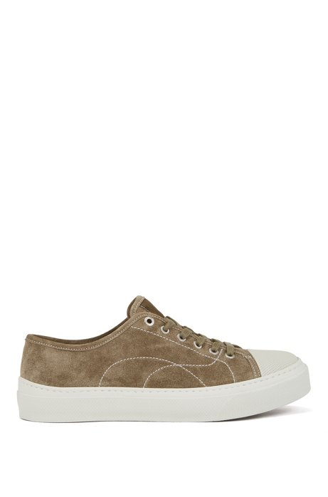 Suede trainers with contrast seasonal stitching, Beige