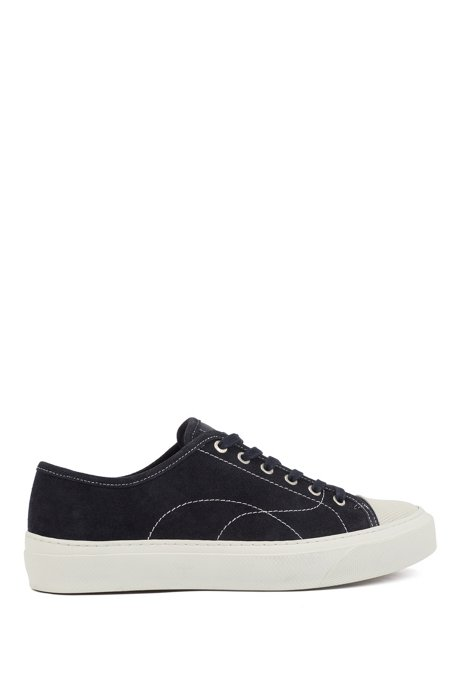 Suede trainers with contrast seasonal stitching, Dark Blue