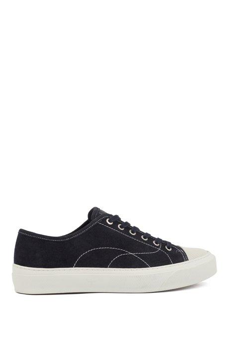 Sneakers van suède met contrasterende, trendy stiksels, Donkerblauw