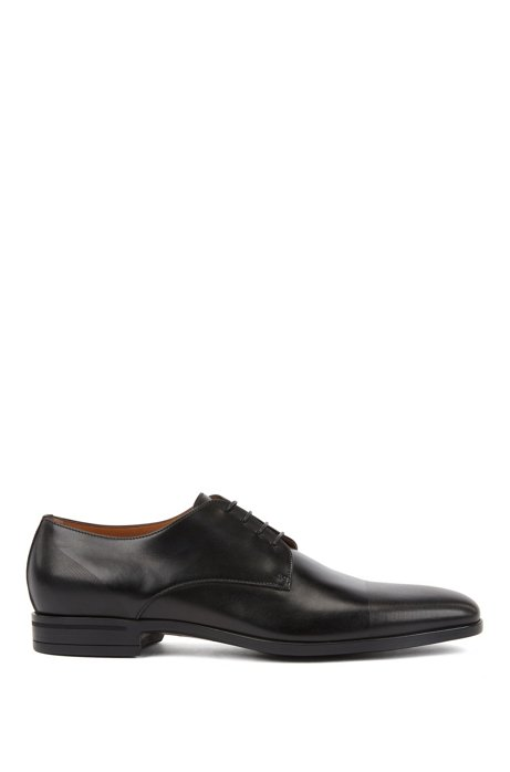 Derby shoes in polished leather with laser-cut detailing, Black