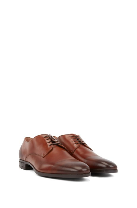 Derby shoes in polished leather with laser-cut detailing, Brown