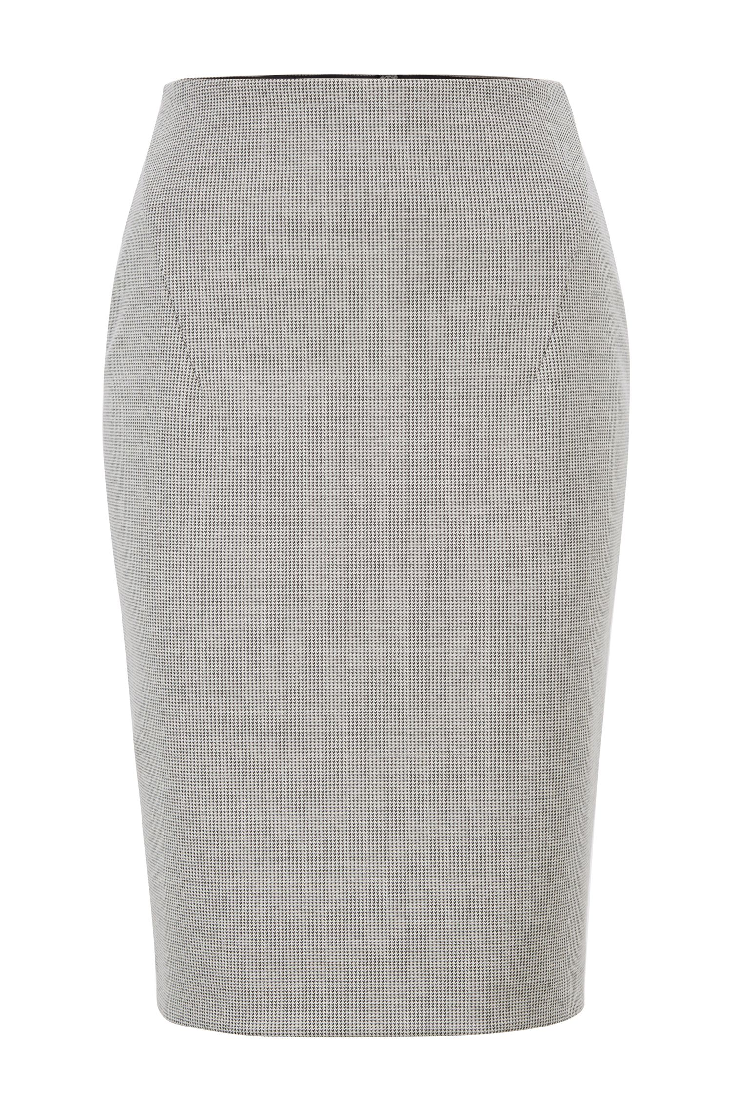 Pencil skirt in Italian jersey with full rear zip, Patterned