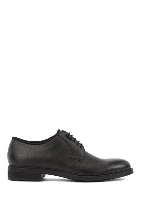 Derby shoes in embossed leather with Outlast® lining, Black