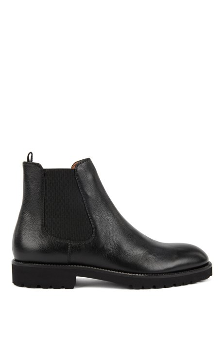 Italian-made Chelsea boots in leather with monogram panels, Black