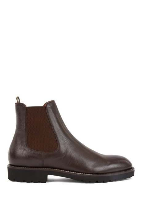 Italian-made Chelsea boots in leather with monogram panels, Dark Brown