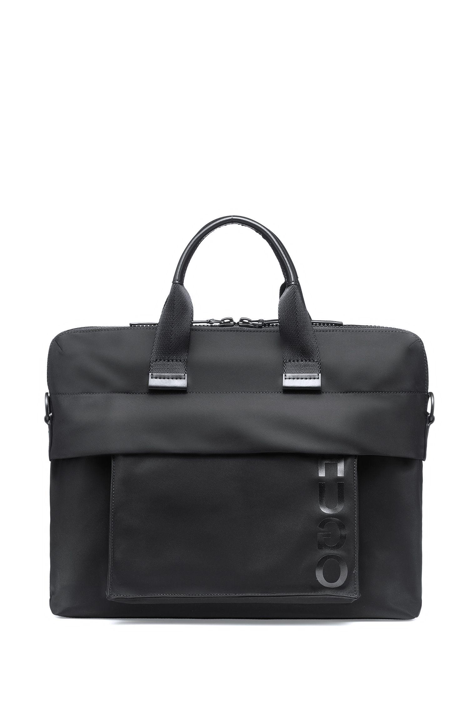 Aktentasche aus Nylon-Gabardine mit abnehmbarer Tasche, Schwarz